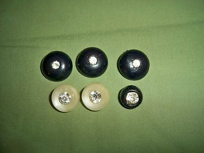 Mixed Lot of 6 Vintage Buttons with Rhinestone Accents Multi Style and Sizes