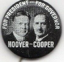 Hoover Cooper Coattails Campaign Button
