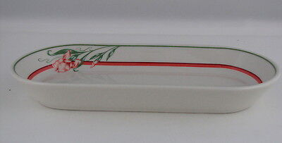 "Shenango Restaurant Ware Large Relish w Coral Floral Decoration, 10"" long"