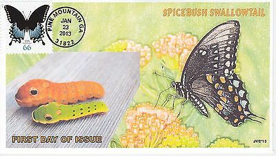 Jvc Cachets - 2013 Spicebush Swallowtail Butterfly Issue First Day Cover Fdc #1