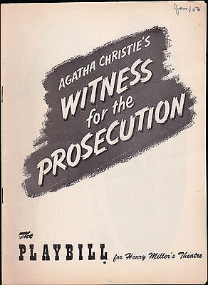 Agatha Christie's Witness for the Prosecution Playbill (January 23 1956)