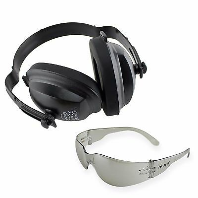 Ear Muffs Eye Hearing Protection Set Phones Safety Glasses Shooting Gun Range