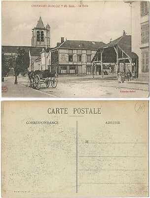 CPA Collection Gaffori postcard attelage CAFE La Halle CHAVANGES 10 Aube [803 R]