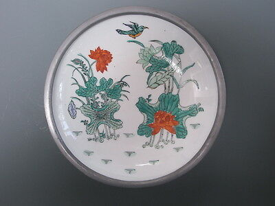 "YT Decorated in Hongkong Vintage Bird Porcelain Bowl with Pewter Rim 7 1/2"" Wide"