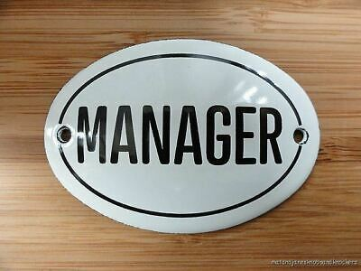 Small Antique Style Enamel Manager Door Sign Wall Plaque