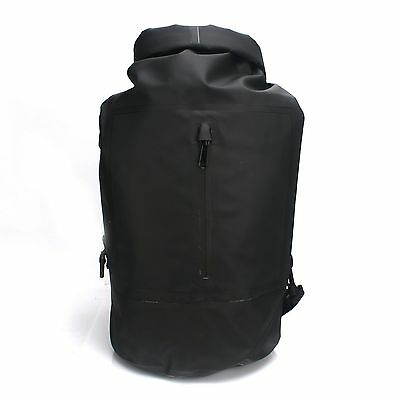 Black Waterproof Dry Bag Daypack Backpack With Zipper For Canoeing Water Sports