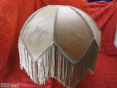 Vintage 8 Sided Victorian Parchment Fringed Shade