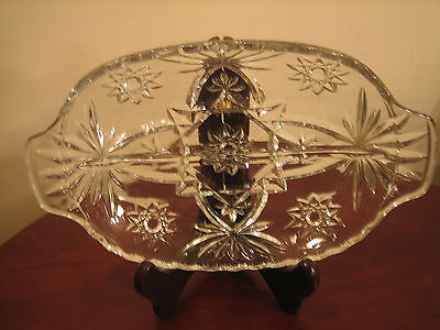 "Vintage Clear Cut Glass Divided Relish Or Candy Dish Scalloped Edges 10""L X 6""W"