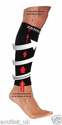 Zensah Leg Compression Sleeve Calf Shin Sleeves for Running/Sports etc NEW