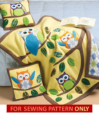 Sewing Pattern! Make Fleece Quilt~Blanket And Pillow With Owl Appliques!