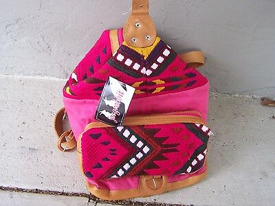 Handwoven Pink Cloth Backpack Purse with Leather Accents - Guatemala