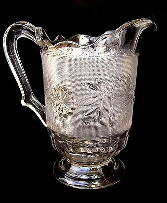 ANTIQUE 1880s DAHLIA EAPG TALL DRINKS WATER PITCHER CANTON GLASS CO