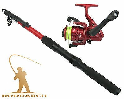 2m SPINNING COARSE TELESCOPIC FISHING ROD & REEL COMBO WITH SL200 REEL & LINE