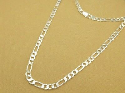 "Men Women Flat Diamond-Cut Figaro Necklace Link Chain Silver Plated,6mm 18""~24"""