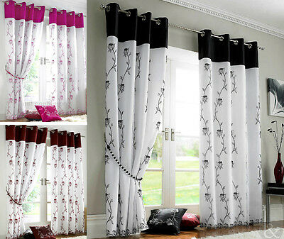 Rose Organza Lined Voile Panel Eyelet Ring Top Ready Made Fully Lined Curtains