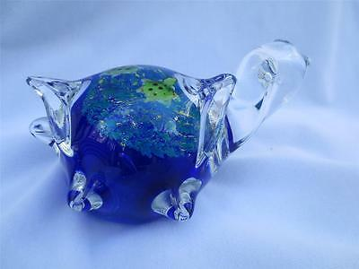 Hand Blown Art Glass Sea Turtle with babies on back Cobalt Blue Paperweight