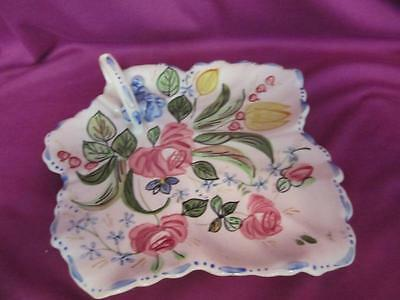 G2 Southern Pottery Blue Ridge Verna Maple Leaf Cake Tray