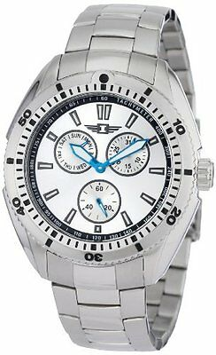 Invicta 3 Eye Day Date Seconds I Series Silver Stainless Steel Blue Hands Watch
