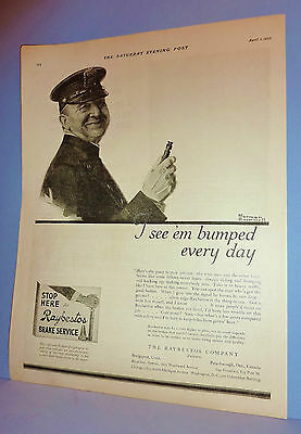 NORMAN ROCKWELL Apr 1 1922 SEP ~ RAYBESTOS BRAKES ~Ad Only ~ I SEE 'EM BUMPED...