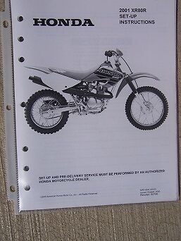 2001 HONDA MOTORCYCLE Scooter XR50R Set Up Instruction ... on
