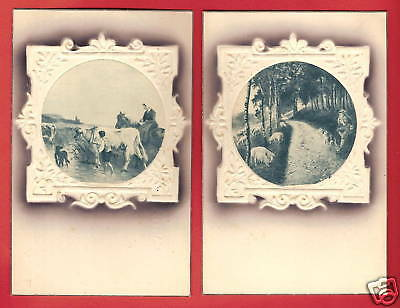 LOT 2 CPA postcards tableaux relief Campagne animal PAYSAGES A