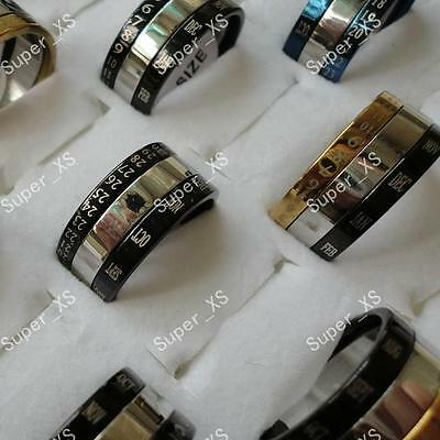 wholesale jewelry mixed lots 10pcs calendar stainless steel rings free shipping