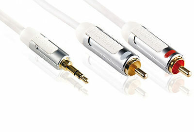 Profigold PROi3401 1m 3.5mm Jack to Twin RCA Audio Lead - High performance
