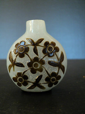 Antique Chinese Qing Dynasty 2 Color Peking Glass Snuff Bottle, Floral Decor.