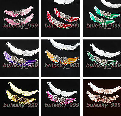 2 Charms Crystal Rhinestone Enamel Curved Wing Bracelet Connectors Finding 54mm