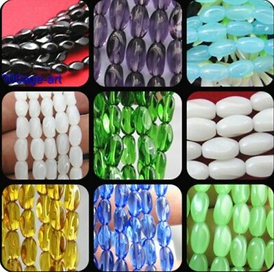 Wholesale 50pcs charm loose oval glass bead Twist beads 9 colors