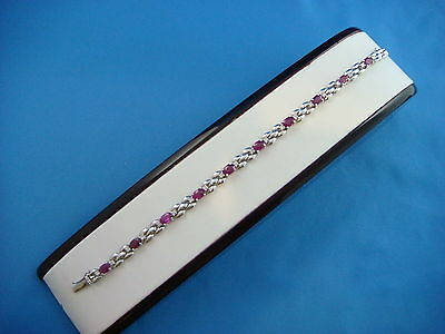 "!beautiful Ruby And Diamonds ""panther"" Designer Bracelet 14.5 Grams"