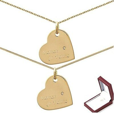 PENDENTIF COEUR MAMAN Je T 'AIME + ZIRCO Plaqué OR NEUF + CHAINE  + ECRIN