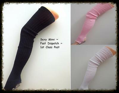 Extra Long Stirrup Leg Warmers Legwarmer - Black Pink White - Dance Ballet 80's