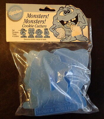 1990 Lot 4 Wilton MONSTERS Cookie Cutter Set w/ recipe NIP MOUTH-Molar-NOSE-Rock