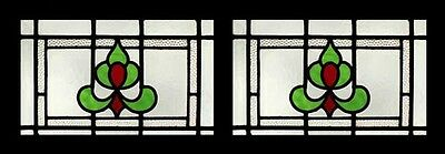 Pretty Art Deco Emerald Pair English Stained Glass Windows