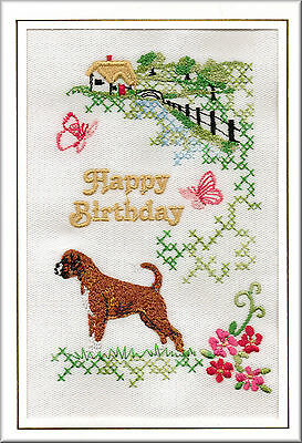 Boxer Dog Birthday Card or Notecard Embroidered by Dogmania