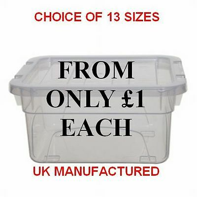 NEW BRITISH MADE Clear Plastic Storage Box Boxes With Lids - Choice Of 13 Sizes
