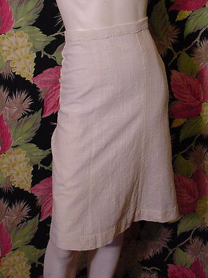 40s WWII era ivory rayon linen Straight skirt 22 waist as is