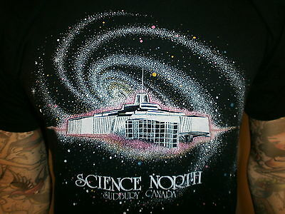 vtg 80s SCIENCE NORTH SUDBURY T SHIRT Ontario Canada Museum Lake Ramsey Black M