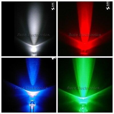 50 100 500 1000 pcs 3mm round flat top white red blue green Leds Lamp light 2pin