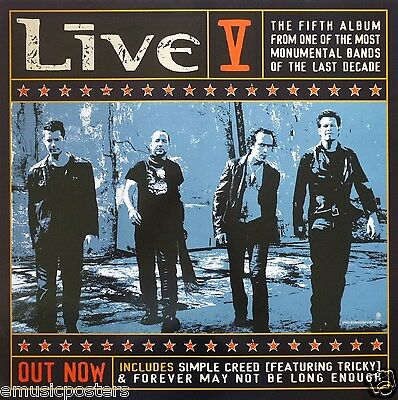 "LIVE ""V"" AUSTRALIAN PROMO POSTER - Alternative Hard Rock Music"