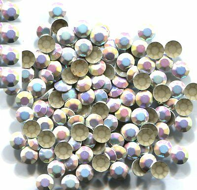 1440 RHINESTUDS Faceted 5mm AB SILVER  Hot Fix 10 gross