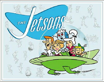 The Jetsons Main Cast in Their Flying Space Car Art Tin Sign Poster NEW UNUSED