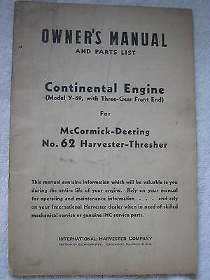 INTERNATIONAL HARVESTER McCORMICK-DEERING NO.62 HARVESTER-THRESHER ENGINE MANUAL
