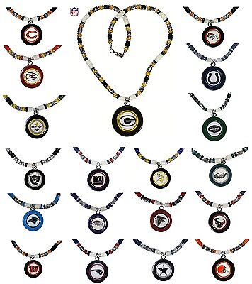 CHOOSE TEAM Necklace NFL 19 inch Full Beaded Fancy New Big Logo Jewelry
