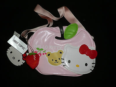 New Hello Kitty Brand Pink Purse/Bag W/Strawberry Key Chain- Hot Topic