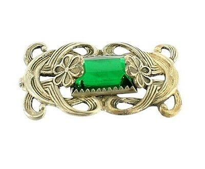 Antique Art Nouveau Green Glass And Nickel Brass Pin Brooch Rare Stunning!