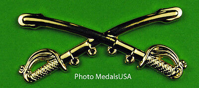 Cavalry Crossed Sabers Large Hat Pin 2 1/4 inch wide