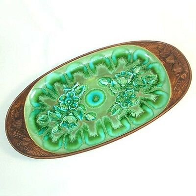 1960s Treasure Craft Green Blue Pottery Oval Serving Platter 17 Inches