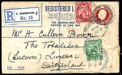 GREAT BRITAIN TO SWITZERLAND Registered Postal Stationery 1912 VF